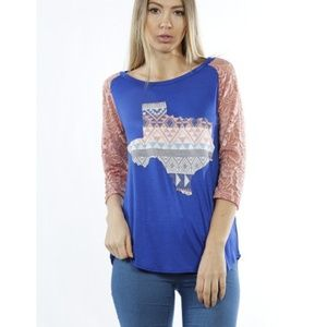 Tops - Texas Shirt w/ 3/4 laced sleeves
